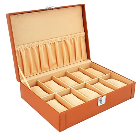 LEDO Watch Case/Watch Box/Organizer for Men and Women with 10 Slots of Watches in Brown/Tan Color