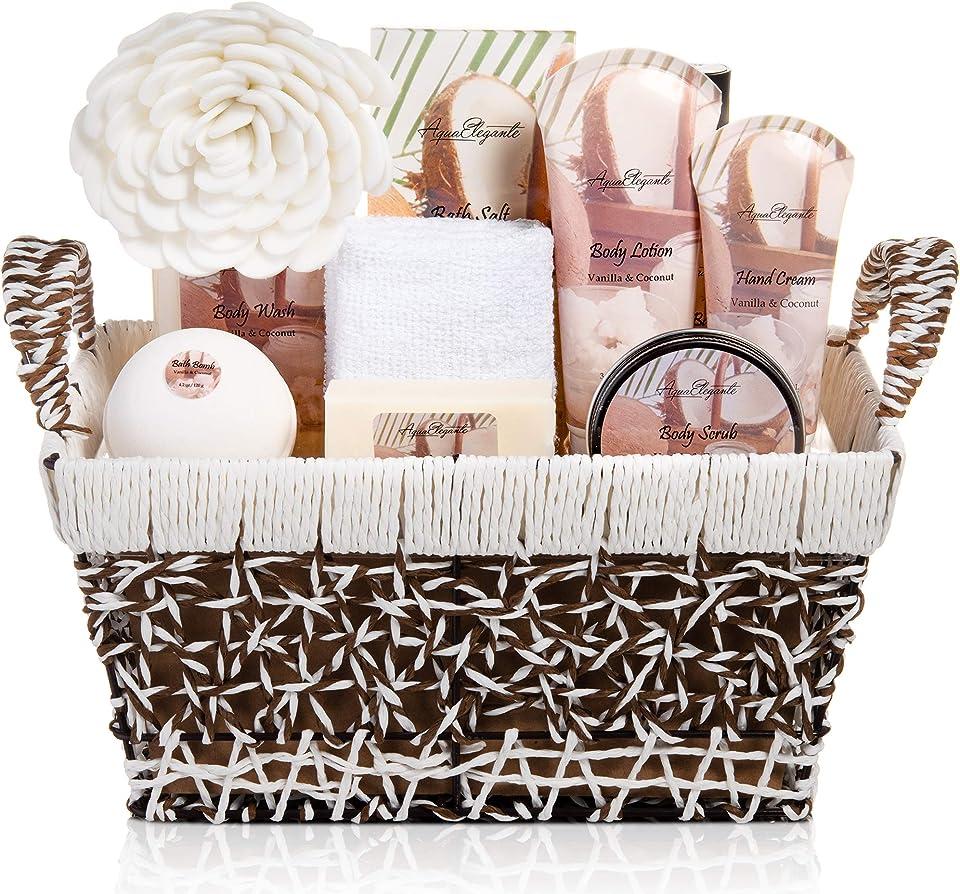 Spa Baskets For Women - Luxury Bath Set With Coconut & Vanilla - Spa Kit Includes Wash, Bubble Bath, Lotion, Bath Salts, Body Scrub, Body Spray, Shower Puff, Bathbombs, Soap and Towel, Large