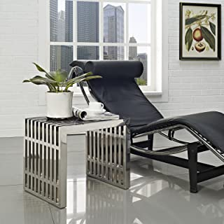 Modway Gridiron Contemporary Modern Small Stainless Steel Bench, 19.5
