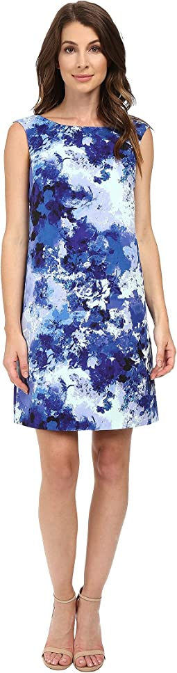 Printed Faille Simple Shift Dress