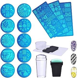 Biutee 15Pcs Nail Plate Set 13 pcs Nail Plates + 2 Stamper Scraper Sets Nail Art Stamping Plates Nail Stamp Plate Nail Art Tools