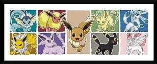 GB eye PFD311 Pokemon Eevee Evolution Framed Print, Wood, Multi-Colour, 79 x 44 x 3 cm