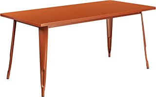 """Flash Furniture Commercial Grade 31.5"""" x 63"""" Rectangular Copper Metal Indoor-Outdoor Table"""