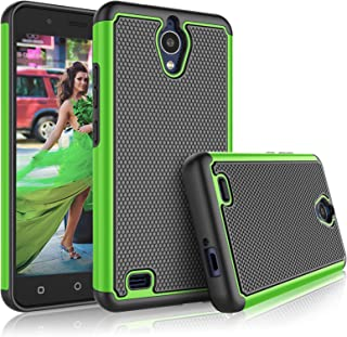 AT&T AXIA Case, AT&T AXIA QS5509A / Cricket Vision DQON5001 Cute Case, Tekcoo [Tmajor] Shock Absorbing Rubber Silicone & Plastic Scratch Resistant Bumper Grip Sturdy Hard Phone Cases Cover [Green]