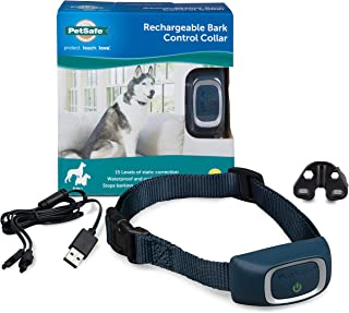 PetSafe Rechargeable Bark Collar, 15 Levels of Automatically Adjusting Static Correction, Rechargeable, Waterproof; Reduce...