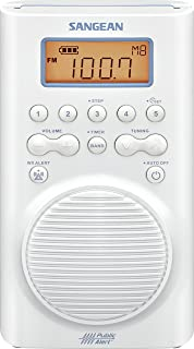Sangean H205 AM/FM Weather Alert Waterproof Shower Radio White