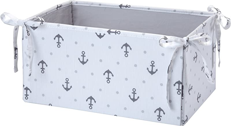 Nautica Kids Separates Anchor Dot Print Nursery Storage Gray White