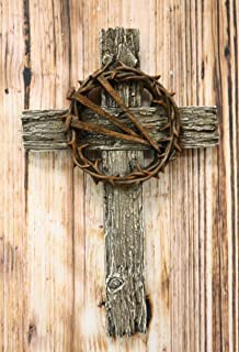 Ebros Rugged Wood Crucifix with Faux Rusted Driven Nails and Crown of Thorns Wall Cross Decor Plaque Vintage Art Hanging Sculpture 14