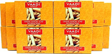 Sandalwood Soap (Sandalwood Oil Bar Soap) with Saffron and Turmeric Extracts - Handmade Herbal Soap (Aromatherapy) with 100% Pure Essential Oils - ALL Natural - Skin Whitening Therapy - Each 2.65 Ounces - Pack of 12 (32 Ounces, 2 Lb) - Vaadi Herbals