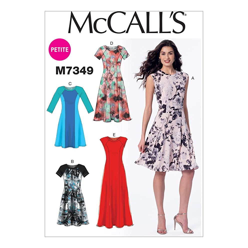 McCall's Patterns M7349 Misses'/Miss Petite Sleeveless or Raglan Sleeve, Fit and Flare Dresses, Size E5 (14-16-18-20-22)