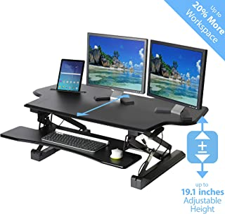 "Seville Classics airLIFT Height Adjustable Stand Up Desk Converter/Riser - Keyboard Tray, Dual Monitors, Quick Lift Levers Ergonomic Table, Extra-Wide (47""), Black"