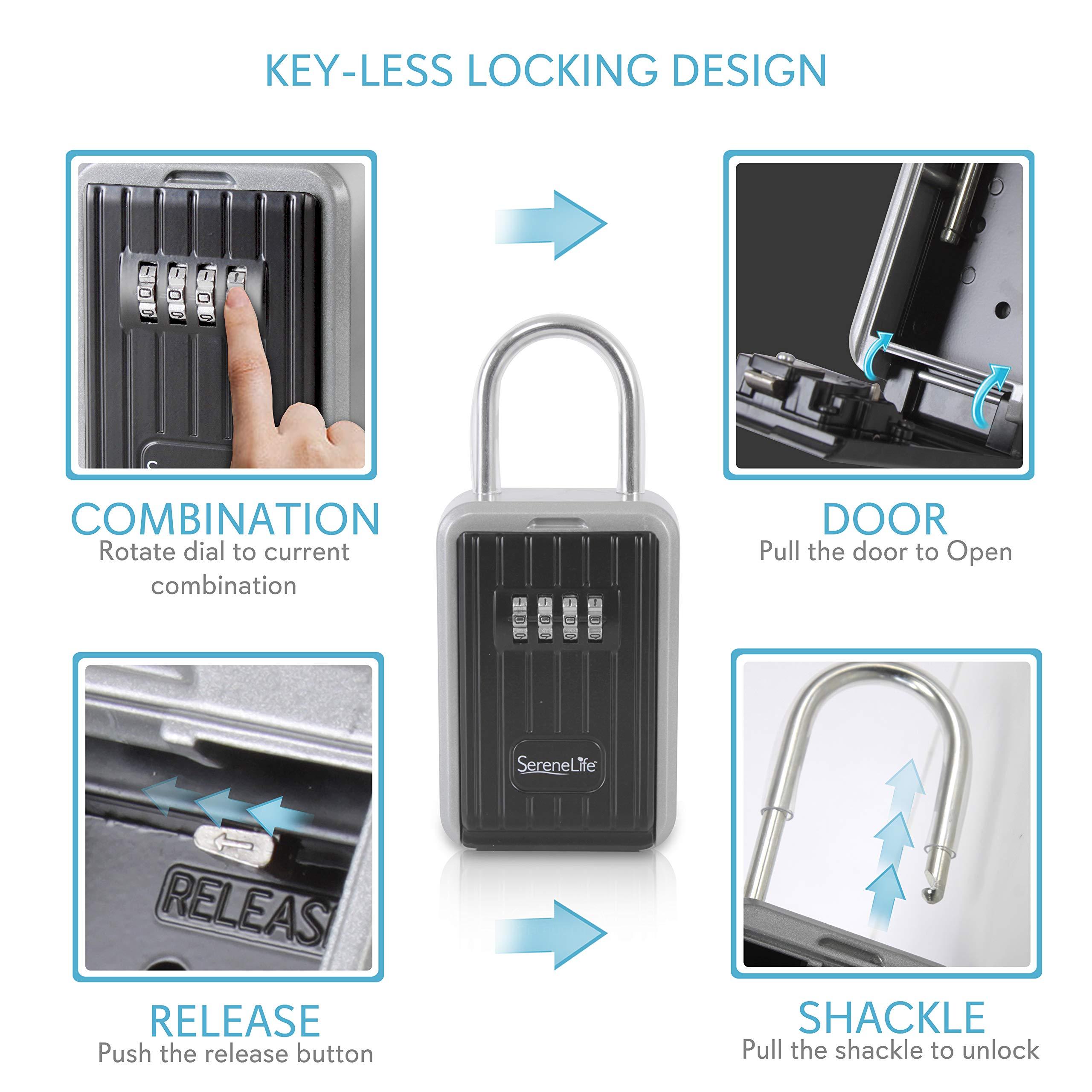 SereneLife SLSFKEY29 Serene Life Key Safe Security Box Locker-Wall Mount Steel Metal Key Holder Keeper with Lock Up to 60 Spare Door Keys Storage Two Cabinet Door Keys For Secure Home Office