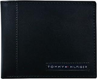 Tommy Hilfiger Portefeuille à double rabat en cuir pour homme avec blocage RFID 100 % cuir Marron clair Taille unique