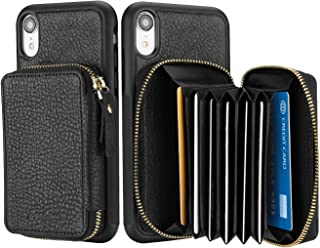 """ProCase iPhone XR Genuine Leather Case, Wallet Case Protective Back Shell Shock-Absorption Bumper Cover with Zippered Card Holder for Apple iPhone XR 6.1"""" 2018 -Black"""