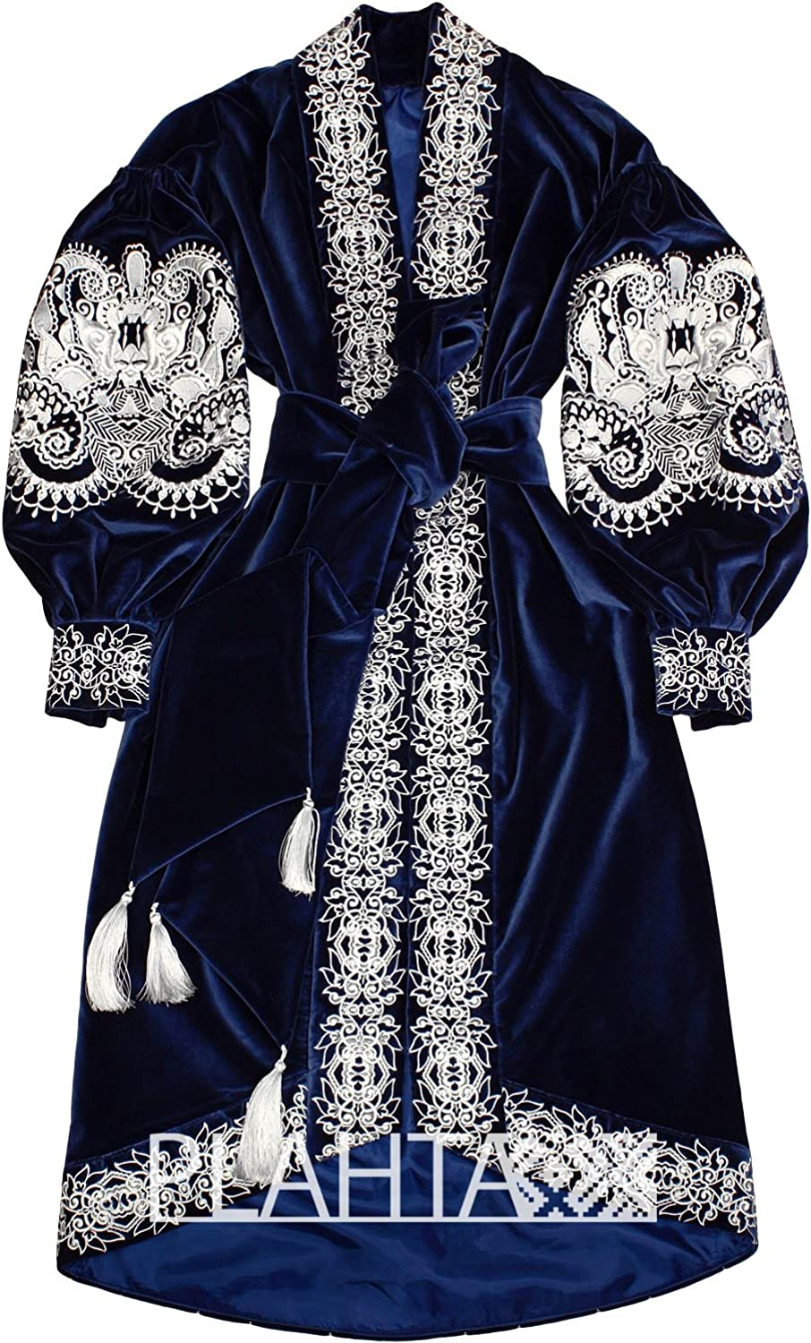 Boho style velvet dress with embroidery