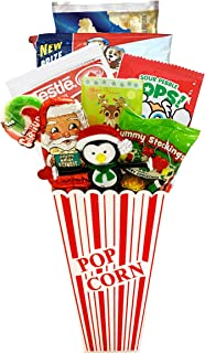 Movie Night Popcorn and Christmas Candy Gift Basket Plus Free Redbox Movie Rental Code Gift - Includes Popcorn Bucket, Theater Popcorn and Delicious Candy Snacks (Christmas Popcorn Gift - Individual)