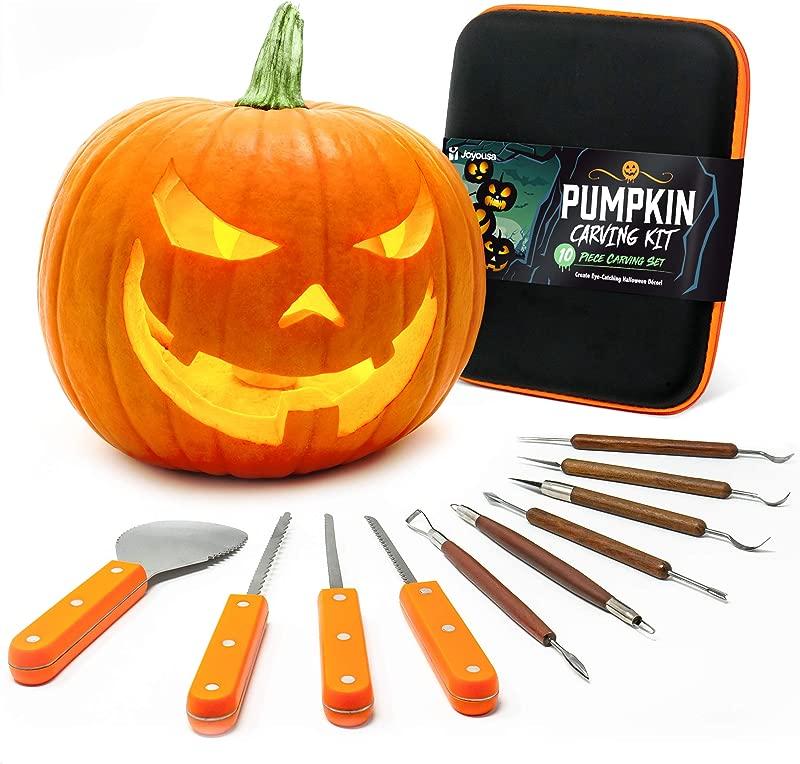 Joyousa Pumpkin Carving Tools Kit 10 Piece Heavy Duty Stainless Steel Jack O Lantern Halloween Set