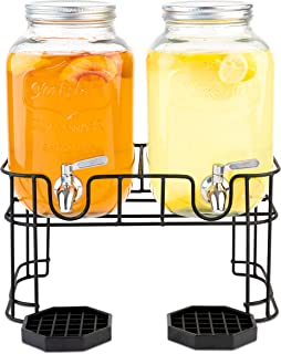 Dual Gallon Glass Beverage Dispensers with Metal Stand, Stainless Steel Spigot, Metal Lid and Drip Trays- Gallon Glass Yorkshire Mason Dual Drink Dispenser Display for Parties, Weddings and Holidays