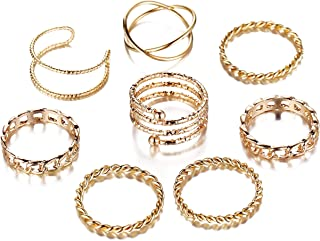 FINETOO 8 PCS Simple Knuckle Midi Ring Set Vintage Plated Gold/Silver for Women/Girl Finger Stackable Rings Set Jewelry Gi...
