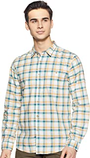 CHEROKEE Men's Checkered Regular fit Casual Shirt (400020222930_Beige S)