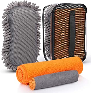 ELECTOP Car Wash Kit 4 Pieces, Car Wash Sponge Premium Chenille Microfiber Car Cleaning Tools Kit Car Washing Towels Cloth...