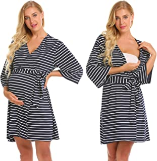 Ekouaer Maternity Robe Nursing/Labor/Delivery Gown Nightgown Hospital Breastfeeding Nightdress Dress