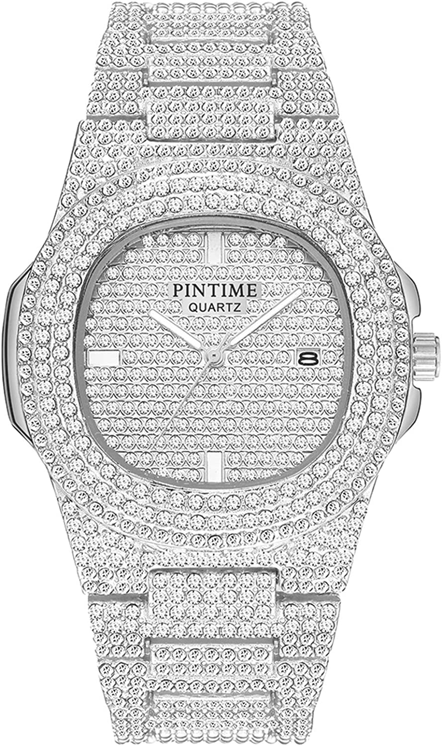 Luxury Mens/Womens Unisex Crystal Watch Bling Iced-Out Watch Oblong Silver/Gold Wristwatch Fashion Diamond Quartz Analog Watch with Stainless Steel Bracelet