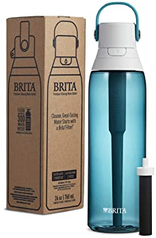 Brita Premium Filtering Water Bottle, 26 Ounce, Sea Glass
