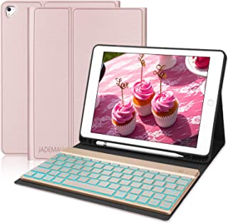 Keyboard Case 9.7 with Pencil Holder for iPad 2018(6th Gen),iPad Pro 2017 (5th Gen),iPad Pro 9.7,iPad Air 2 and iPad Air, 7 Color Backlight, Auto Wake/Sleep, iPad Case with Keyboard, Rose Gold