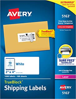 Avery Shipping Address Labels, Laser Printers, 1,000 Labels, 2x4 Labels, Permanent Adhesive, TrueBlock (5163)