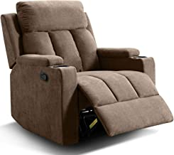 ANJ Chair Recliner Contemporary Theater Recliner with 2 Cup Holders Tan