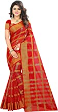The Fashion Outlets Women's Cotton Silk Woven Zari Manipuri Saree with Blouse (Dark Red, Gold)