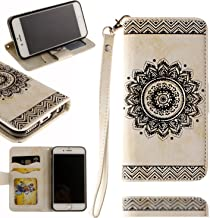 Black Sales Friday Cyber Sales Monday Sales & Deals Week 2018-Valentoria Mandragora Flower Premium Vintage Emboss Leather Wallet Pouch Case with Wrist Strap for iPhone 6/6s(White)