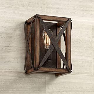 """Oaklyn Rustic Farmhouse Wall Light Sconce LED Wooden Rust Brown Hardwired 12 1/2"""" High Fixture for Bedroom Bathroom Hallway - Franklin Iron Works"""