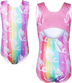 TFJH E Gymnastics Leotards for Girls Sparkle Athletic Clothes Activewear One-piece, A Rainbow Girl, 5-6Years