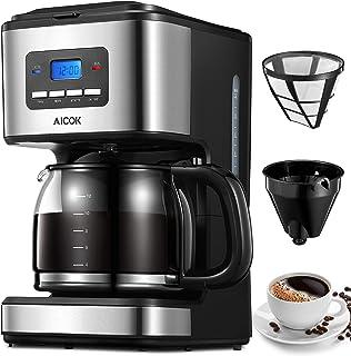 Aicok Cafetera, Cafetera Goteo, Cafetera Goteo Programable, Cafetera Goteo Filtro Permanente, Jarra de Vidrio, 1.5 Litros,...