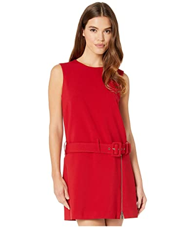 Nicole Miller Stretchy Tech Belted Mini Dress (Red) Women