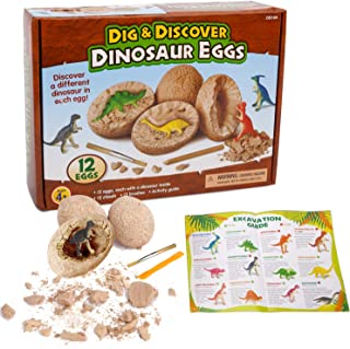 Dino Egg Dig Kit - Sugoiti 12 Packs Dinosaur Eggs Dig And Discover Dinosaur Eggs Toys, Including 12 Different Dinosaurs In Eggs for Discovering and Imagination Development, 2019 Best Science STEM Toys