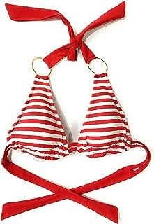 Jessica Simpson Striped Halter Bikini Top Red Small