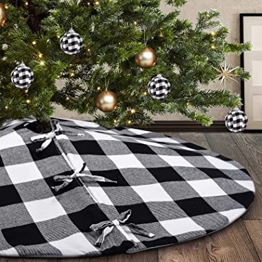 Homchomp Black and White Buffalo Check Christmas Tree Skirt,36 inch Xmas Tree Skirt Xmas Ornaments Tree Mats for Holiday Chri