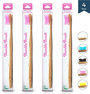 Bamboo Vegan Toothbrush [Set 4] - All Natural Wooden Toothbrushes - Organic, Eco-Friendly and Biodegradable with BPA Free Bristles - Helps Save the Planet and Kids in Need [Adult Purple]