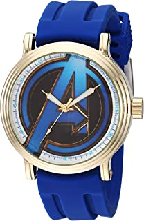 Marvel Men's Avengers Analog-Quartz Watch with Rubber Strap, Blue, 22 (Model: WMA000345)