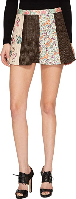 Wool Herringbone & Prints Intarsia Shorts