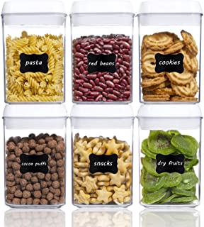 Airtight Food Storage Containers, Vtopmart 6 Pieces Small BPA Free Plastic Cereal Containers with Easy Lock Lids,for Kitch...