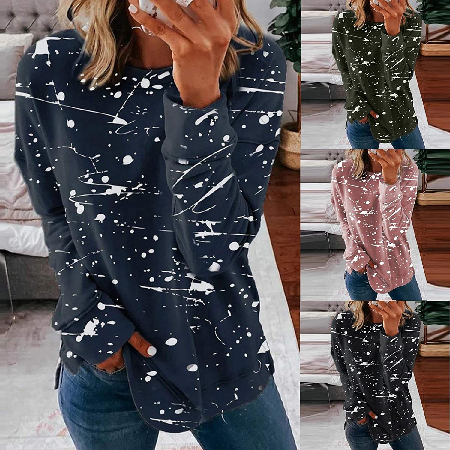 AODONG Sweaters for Women,Womens Casual Crewneck Color Printed Sweatshirt Loose Soft Long Sleeve Pullover Tops Shirts