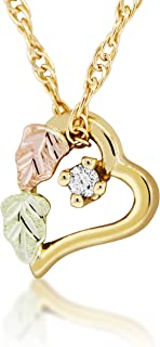 Black Hills Gold Floating Heart Pendant with Diamond