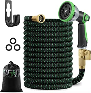 25 FT Expandable Garden Hose, Flexible Water Hose with 10 Function High-Pressure Spray Nozzle and 3-Layers Flex Strong Lat...