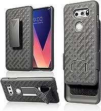 LG V30 Case ,Customerfirst, Belt Clip Holster Cover Shell Kickstand Criss Cross Black New Plaid Design For LG V30 (Black)