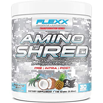 Flexx Amino Shred - Performance Amino Acids with 5 Grams BCAAs, IntraWorkout Muscle Recovery, Fat Burning, Hydration and Protein Synthesis | Pirate Bay, 30 Servings
