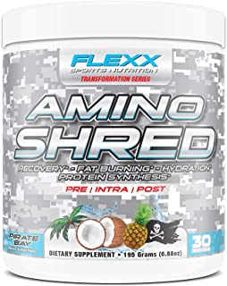 Flexx Amino Shred - Performance Amino Acids with 5 Grams BCAAs, IntraWorkout Muscle Recovery, Fat Burning, Hydration and P...